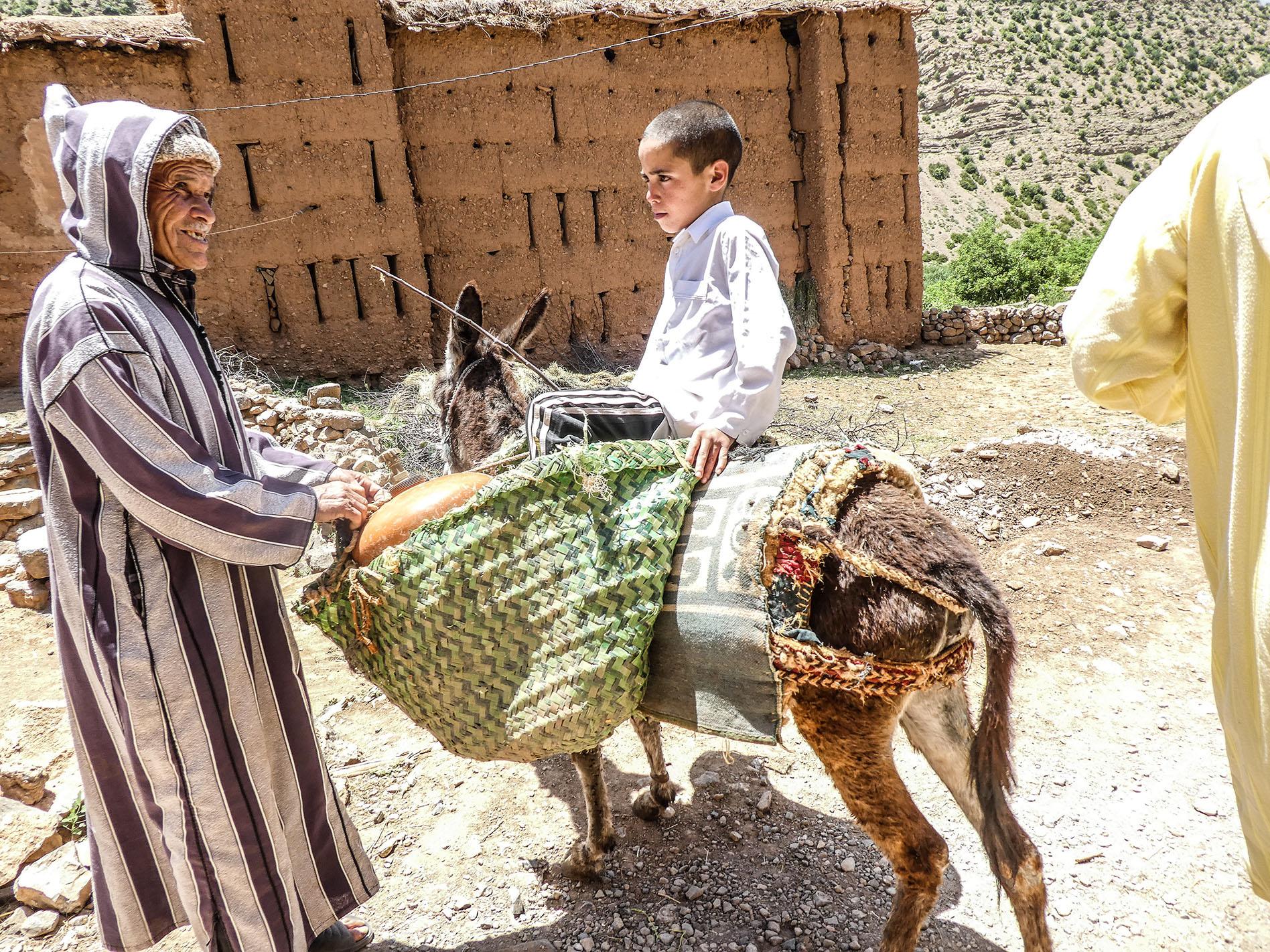 Maroc - R'bat, un vieil homme et un enfant sur un ane
